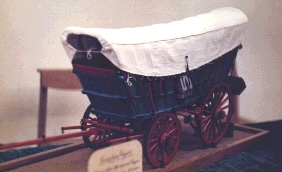 A 1/8th. scale model of a ''Conestoga Waggon'', built by Cliff Rogers of Abergavenny, from John Thompson plans.